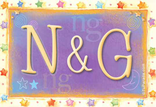 Tarjeta de iniciales N - G
