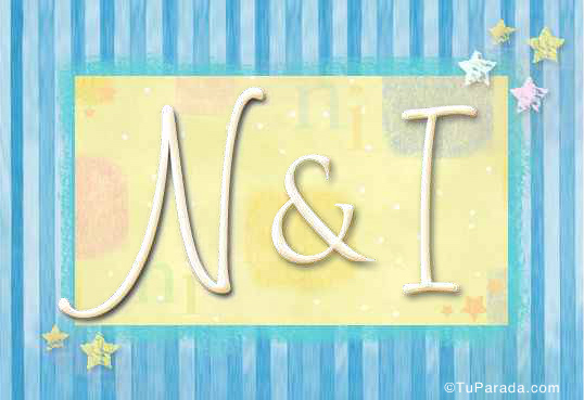 Tarjeta de iniciales N - I