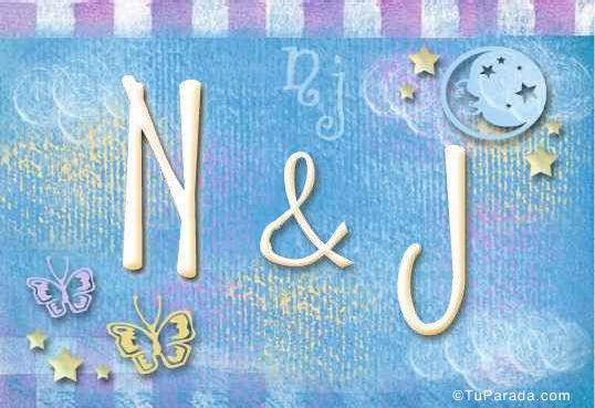 Tarjeta de iniciales N - J