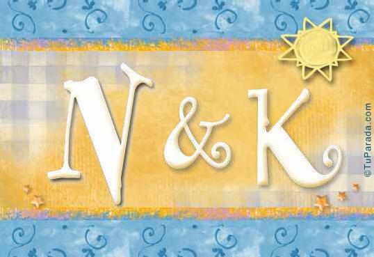 Tarjeta de iniciales N - K