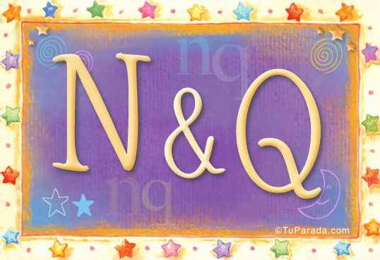 Tarjeta de iniciales N - Q