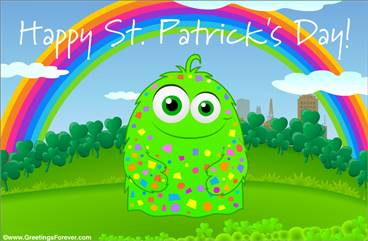 St. Patrick's Day ecard with rainbow