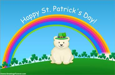 St. Patrick´s Day ecard with little bear