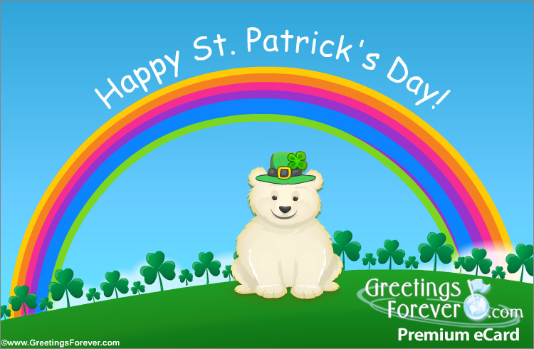 Ecard - St. Patrick´s Day ecard with little bear