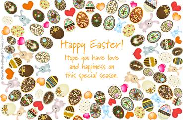 Ecard with many Easter eggs