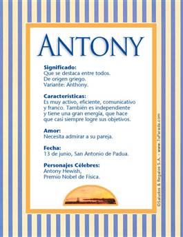 Antony Significado Del Nombre Antony