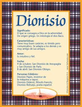 Nombre Dionisio