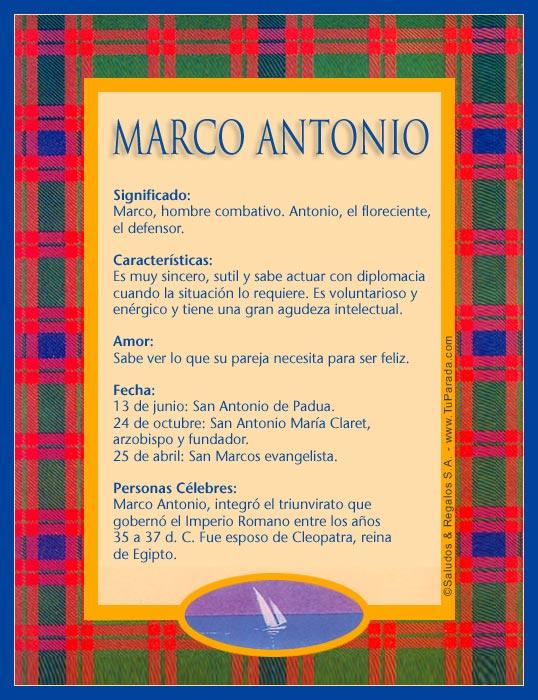 Marco Antonio - M, tarjetas
