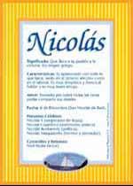 Nombre Nicolás