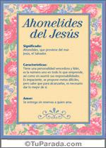 Nombre Ahonelides del Jesús