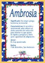Nombre Ambrosia