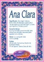 Nombre Ana Clara
