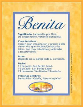 Nombre Benita