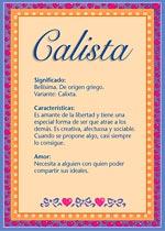 Nombre Calista