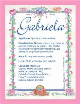 Nombre Gabriela