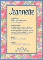 Nombre Jeannette