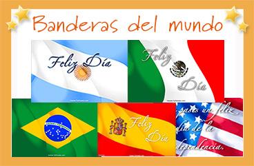 Tarjetas, postales: Banderas