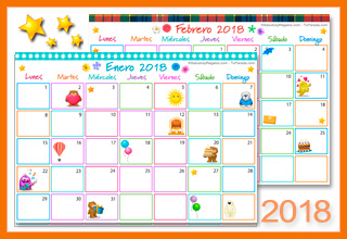 Tarjetas, postales: Calendario Multicolor 2018