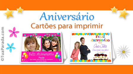 Cartões Cartões de aniversário para imprimir