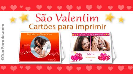 Cartões Cartões de São Valentim para imprimir