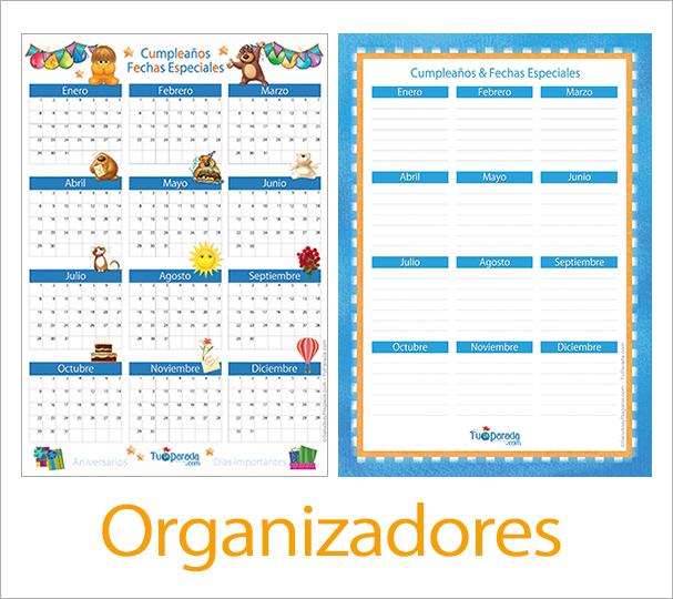 Organizadores por mes y año