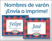 Tarjetas, postales: Nombres Varón