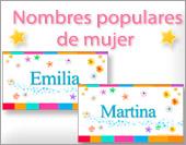 Tarjetas, postales: Nombres populares Fem.