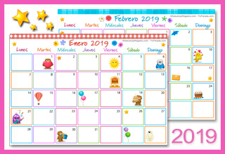 Tarjetas, postales: Calendario Multicolor 2019