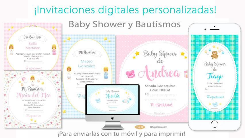 Invitaciones De Baby Shower Y Bautismos Estampitas
