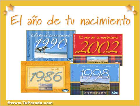 Tarjetas, postales: El año en que nací