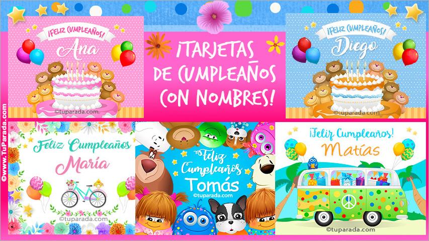 Tarjetas, postales: Cumpleaños con nombres