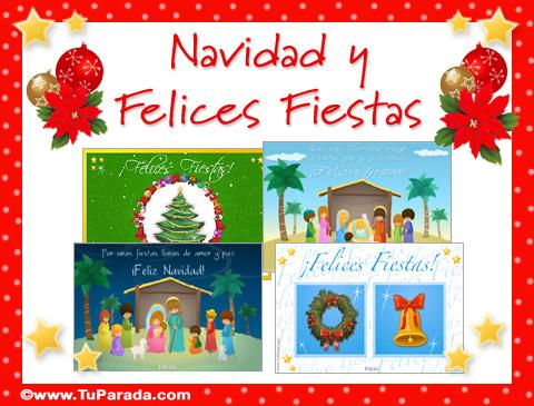 Tarjetas de Pinos y adornos navideños