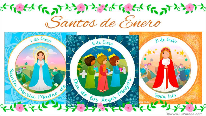Tarjetas de  Santos de Enero