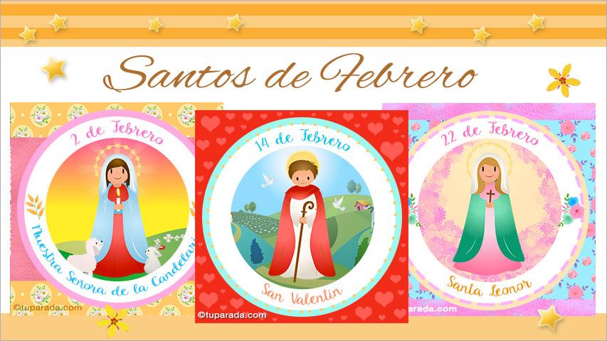 Tarjetas de  Santos de Febrero