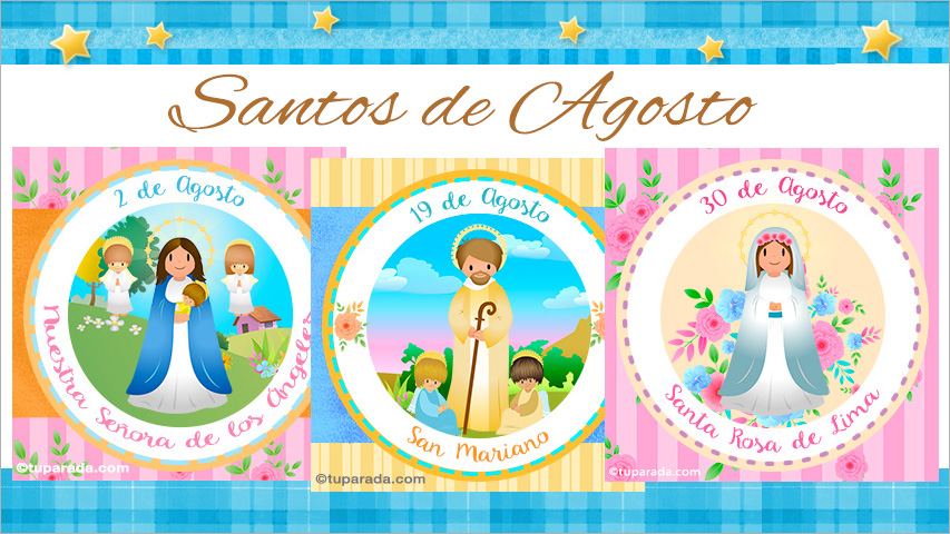 Tarjetas de  Santos de Agosto