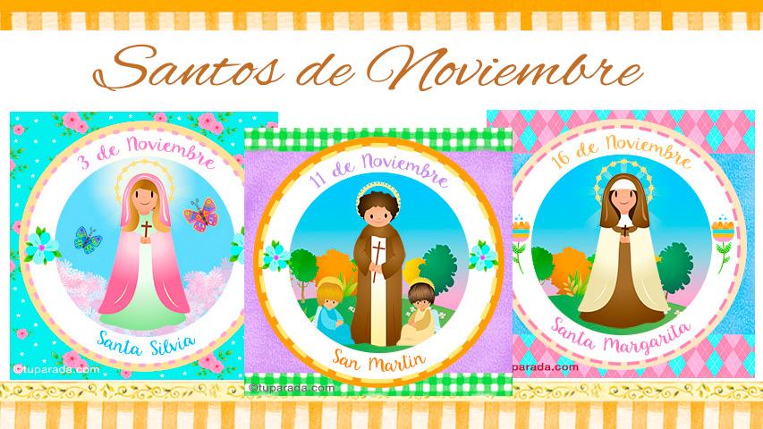 Tarjetas de  Santos de Noviembre