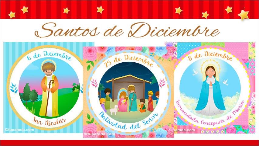 Tarjetas de  Santos de Diciembre